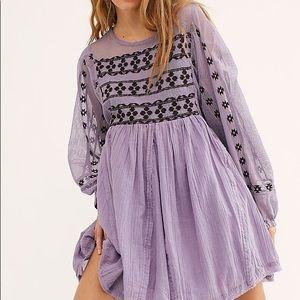 FREE PEOPLE Need Me Embroidered Mini Dress Sz S